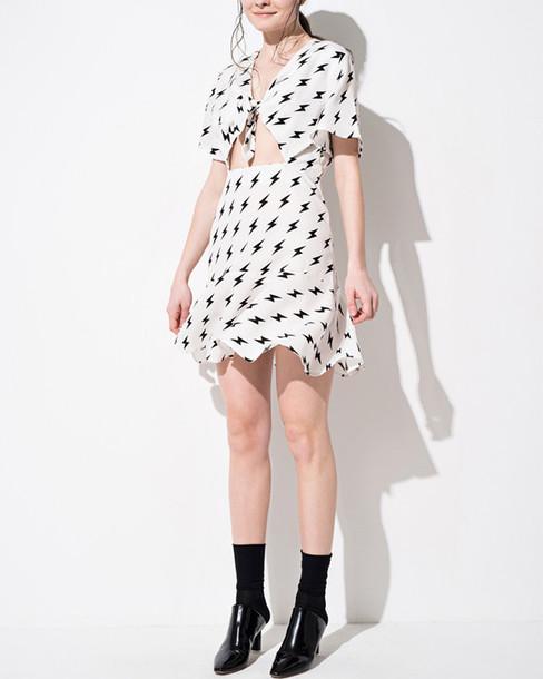 dress printed dress white dress spring dress ruffle dress cut-out dress keyhole dress