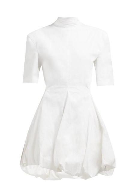 Jil Sander - Gwyneth Puff Hem Cotton Blend Mini Dress - Womens - White