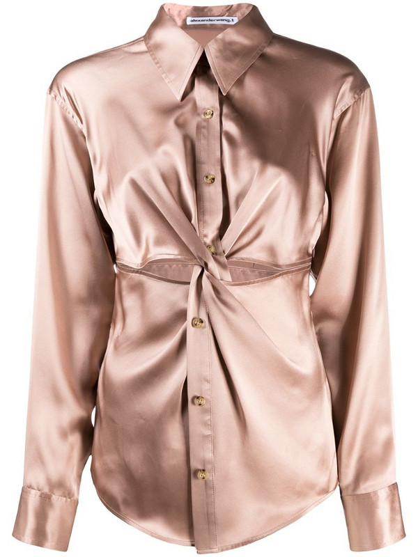 T By Alexander Wang ruched button-up silk shirt in pink
