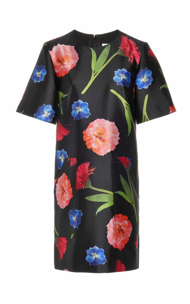 Carolina Herrera Short Sleeve Printed Silk Shift Dress Size: 0 in black