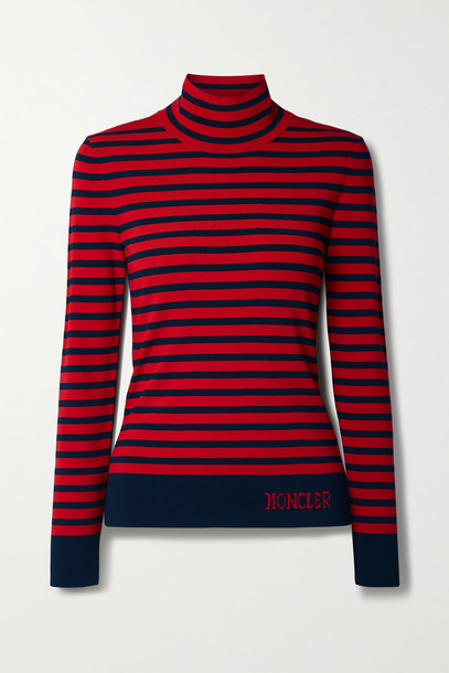 MONCLER - Lupetto Striped Knitted Turtleneck Sweater - Red