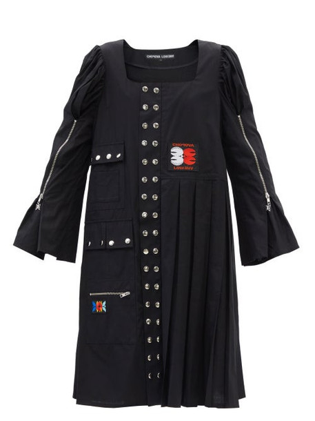 Chopova Lowena - Morson Square-neck Studded Cotton-poplin Dress - Womens - Black