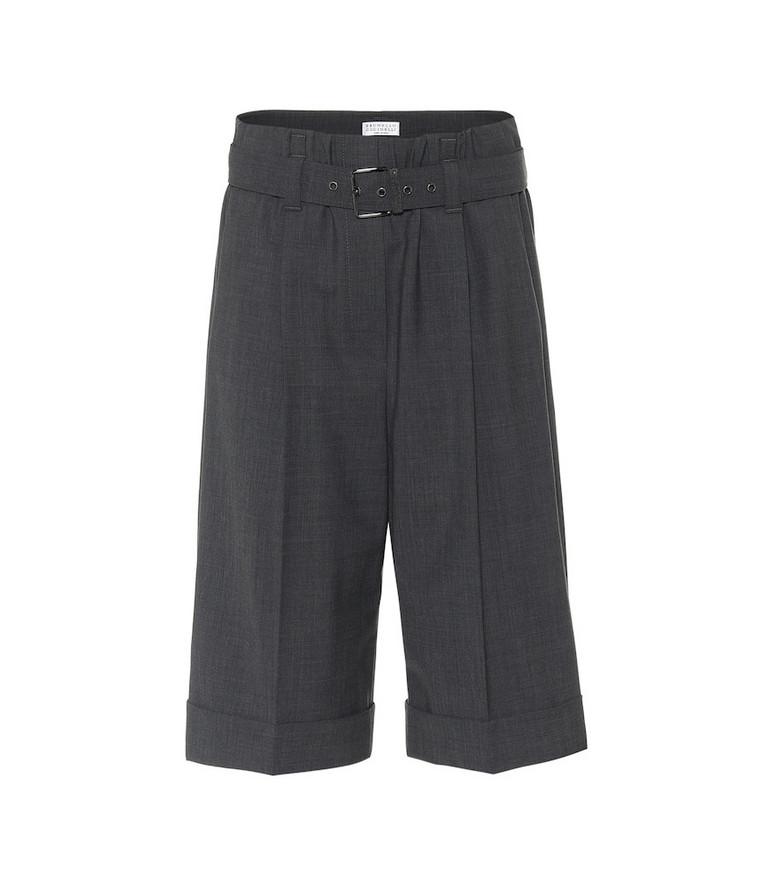 Brunello Cucinelli Wool-blend Bermuda shorts in grey
