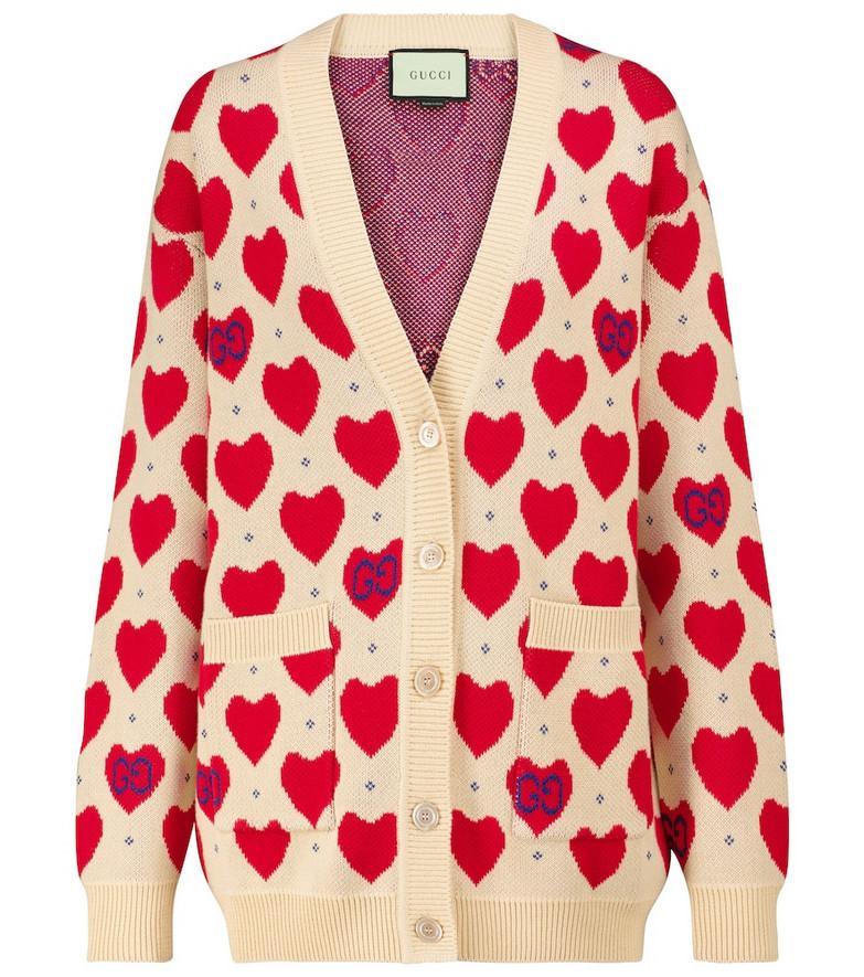 Gucci Heart intarsia cotton cardigan in white