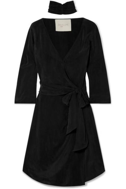 Envelope Envelope1976 - San Diego Washed-satin Wrap Mini Dress - Black