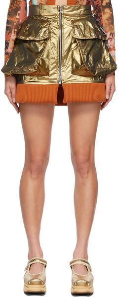Paula Canovas Del Vas Bomber Metallic Mini Skirt in gold