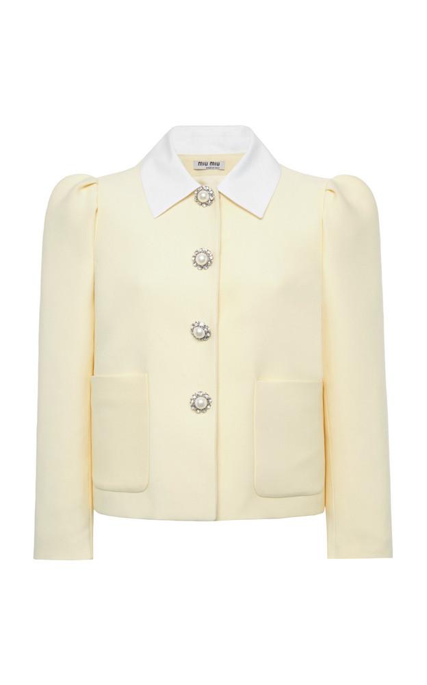 Miu Miu Embellished Cady Cropped Jacket in yellow