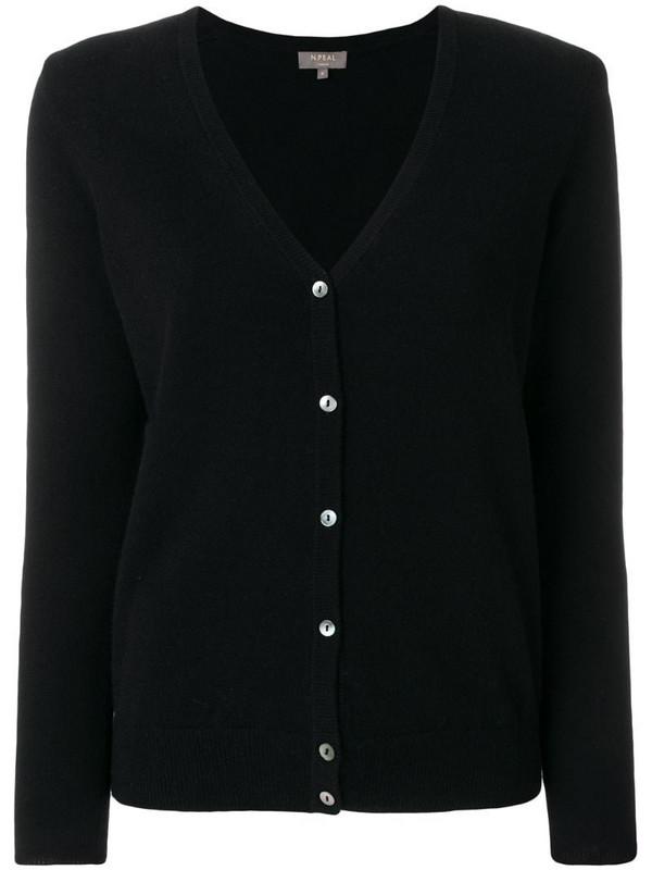 N.Peal cashmere v-neck cardigan in black
