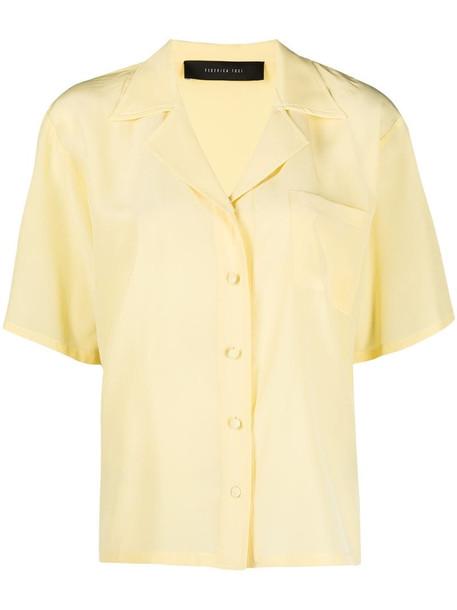 Federica Tosi chest pocket silk shirt in yellow