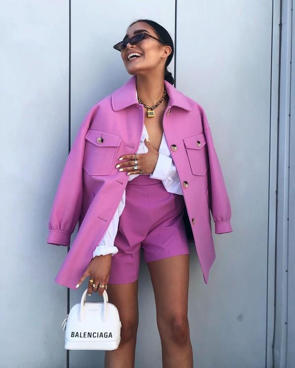 shorts High waisted shorts pleated white bag balenciaga oversized jacket white shirt coat purple violet