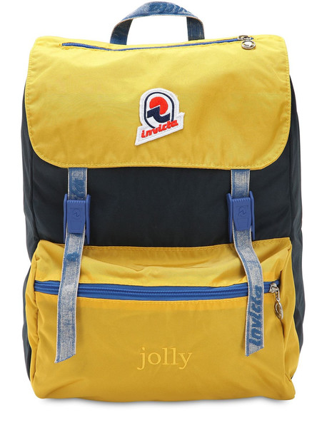 INVICTA Jolly Backpack Nylon W/ Vintage Effect in navy / yellow