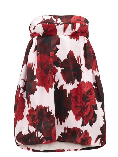 Alexandre Vauthier - Strapless Floral-print Cotton Mini Dress - Womens - Red Print