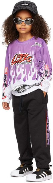 032c Kids Motocross Flames Long Sleeve T-Shirt in lilac