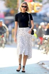 skirt,polka dots,midi dress,karlie kloss,model off-duty,top,streetstyle