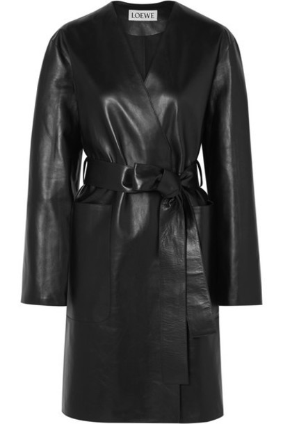 Loewe - Belted Leather Coat - Black