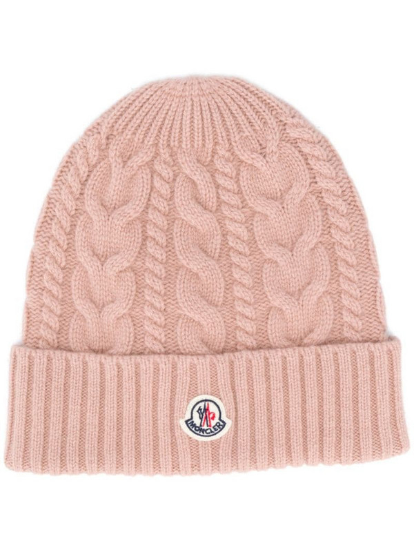 Moncler knitted logo patch beanie in pink