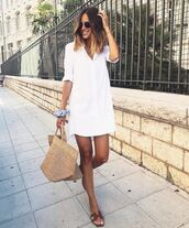 dress,shirt dress,mini dress,woven bag,slide shoes