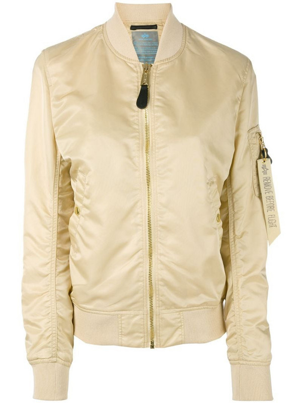 Alpha Industries arm pocket bomber jacket in neutrals