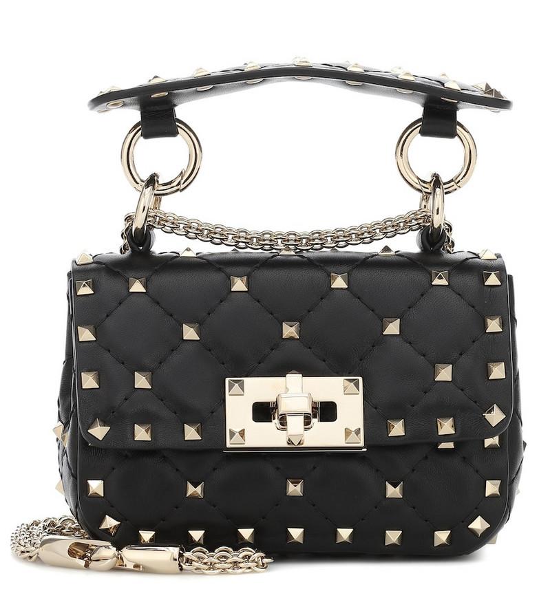 Valentino Garavani Rockstud Spike Mini leather crossbody bag in black