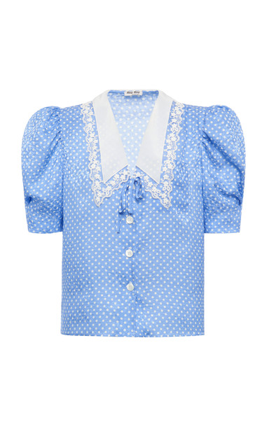 Miu Miu Polka-Dot Satin Jacquard Puff-Sleeve Top in blue
