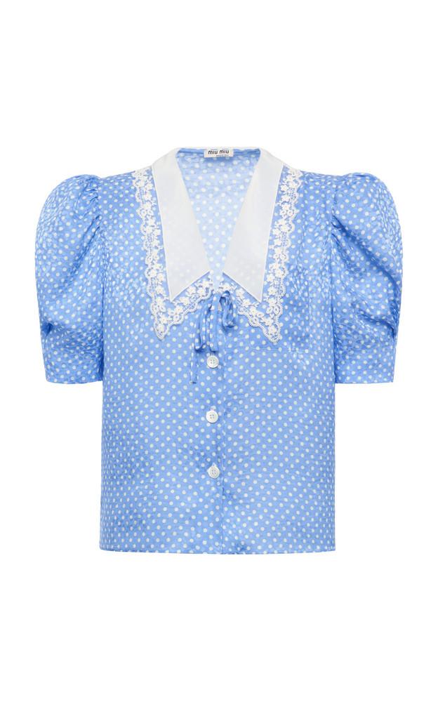 Miu Miu Polka-Dot Satin Jacquard Puff-Sleeve Top in blue