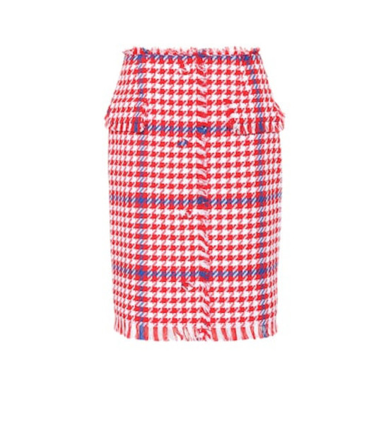 MSGM Houndstooth tweed skirt in red