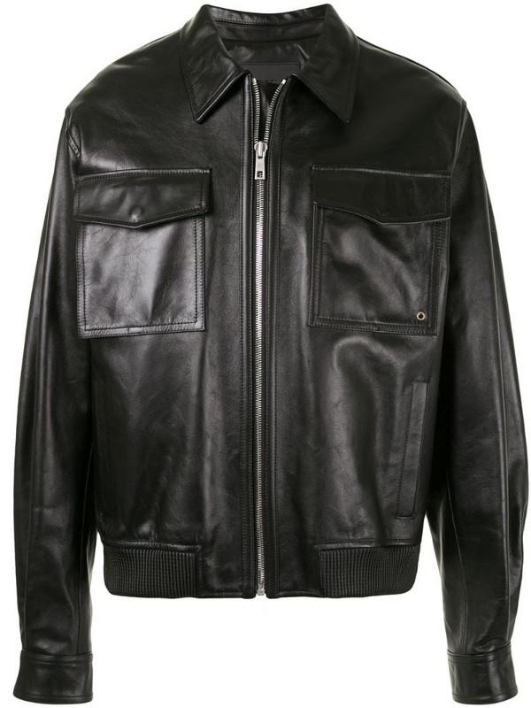 SONGZIO leather trucker jacket in black