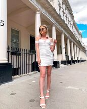 dress,white dress,mini dress,off the shoulder dress,white sandals