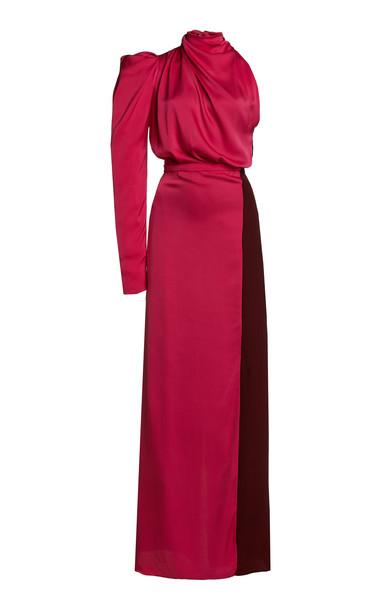 Johanna Ortiz Woman In Love Silk Colorblock Maxi Dress in pink
