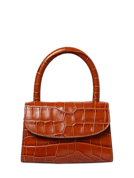 BY FAR Mini Croc Embossed Leather Bag in tan