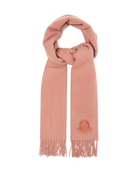 Moncler - Logo Appliqué Fringed Wool Scarf - Womens - Camel