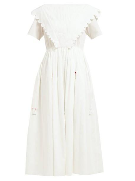 Horror Vacui - Flabella Scalloped Edge Cotton Dress - Womens - White