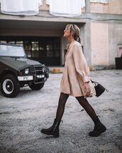 dress,mini dress,shirt dress,tights,black boots,black bag
