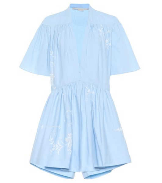 Stella McCartney Embroidered cotton playsuit in blue