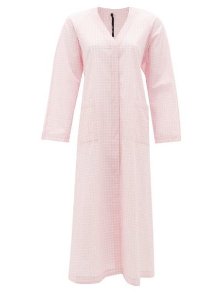 Sara Lanzi - Back-ties Gingham Cotton Dress - Womens - Light Pink