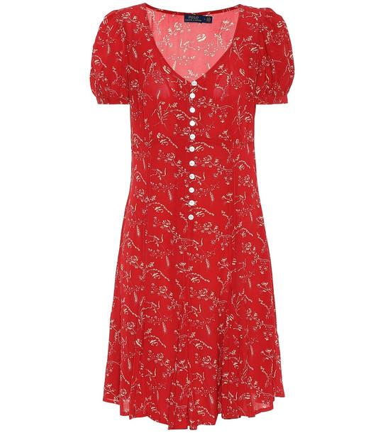 Polo Ralph Lauren Floral crêpe de chine minidress in red