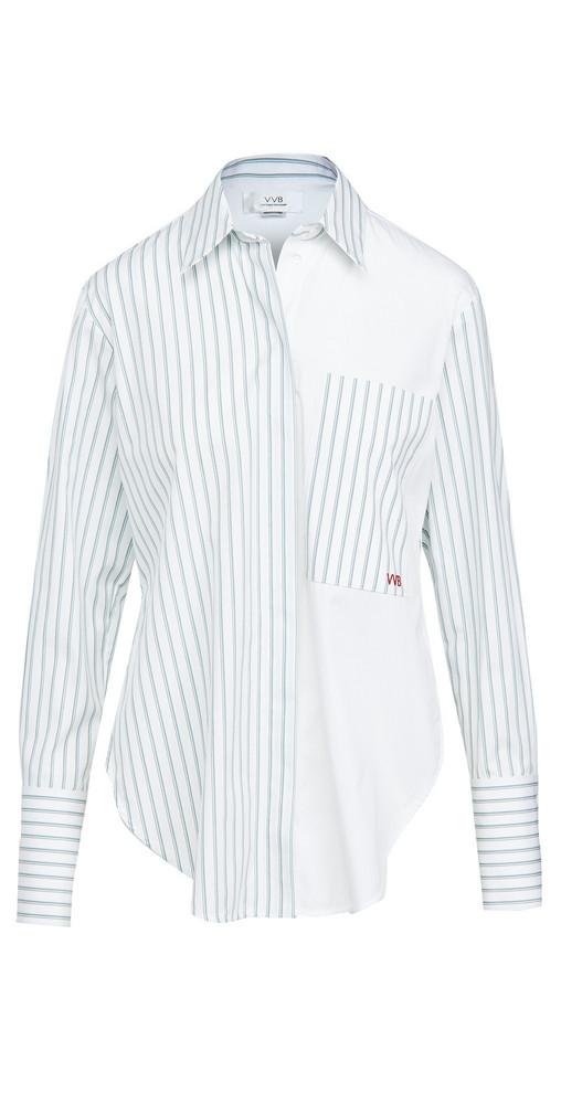 Victoria Victoria Beckham Melange Stripe Patchwork Shirt in green / white