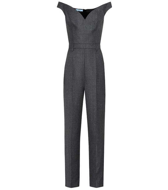 Prada Checked wool jumpsuit in grey
