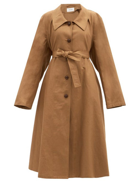 Lemaire - Belted Cotton-blend Canvas Coat - Womens - Light Brown