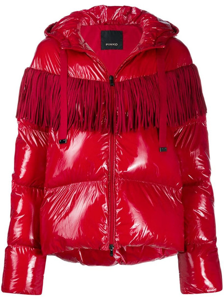 Pinko fringed-yoke quilted hooded jacket in red