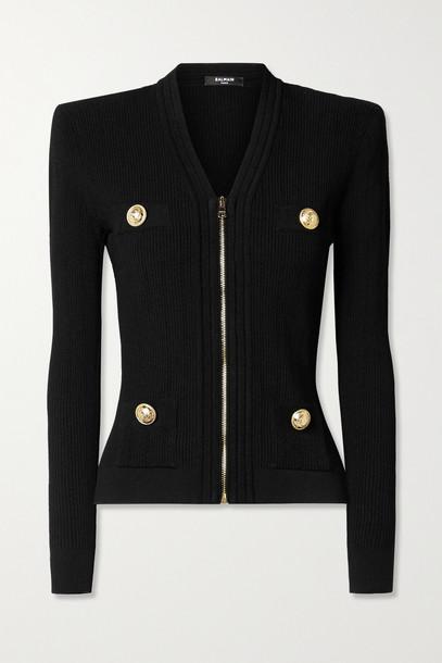 BALMAIN - Button-embellished Ribbed-knit Cardigan - Black