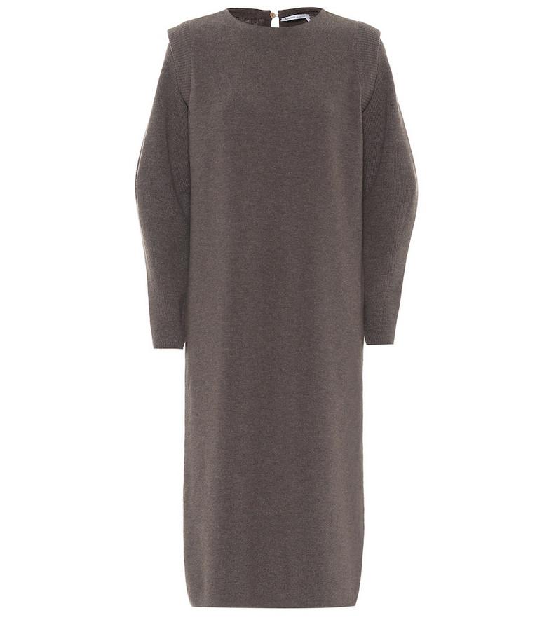 Agnona Merino wool midi dress in brown