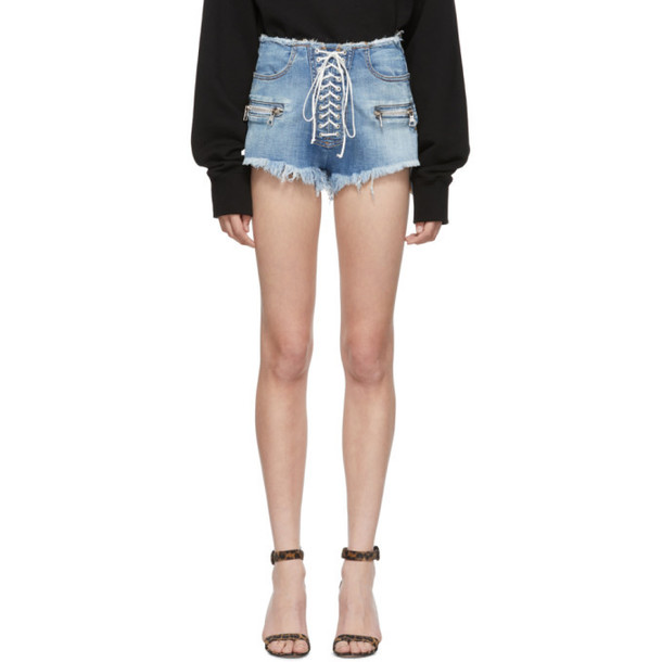 Unravel Indigo Denim Lace-Up Shorts