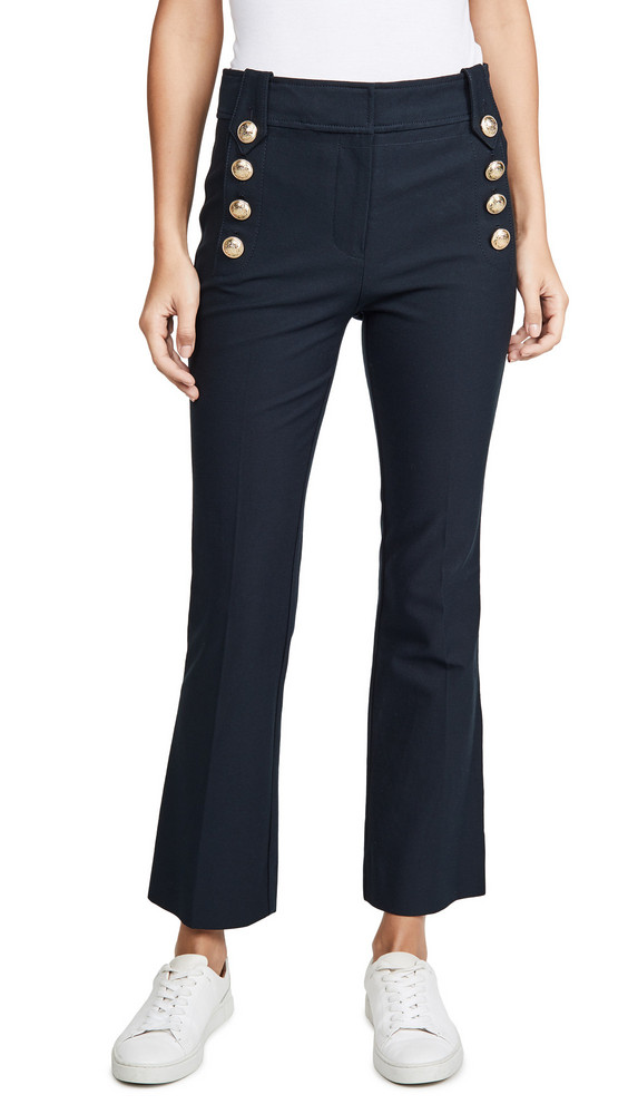Derek Lam 10 Crosby Robertson Cropped Flare Trousers with Sailor Buttons in midnight