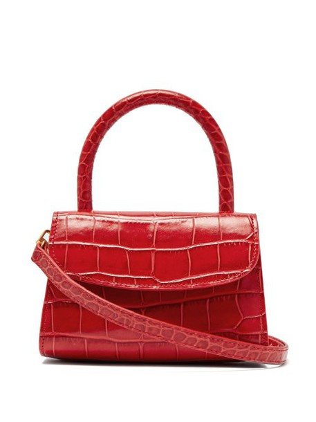 By Far - Mini Crocodile Effect Leather Cross Body Bag - Womens - Red