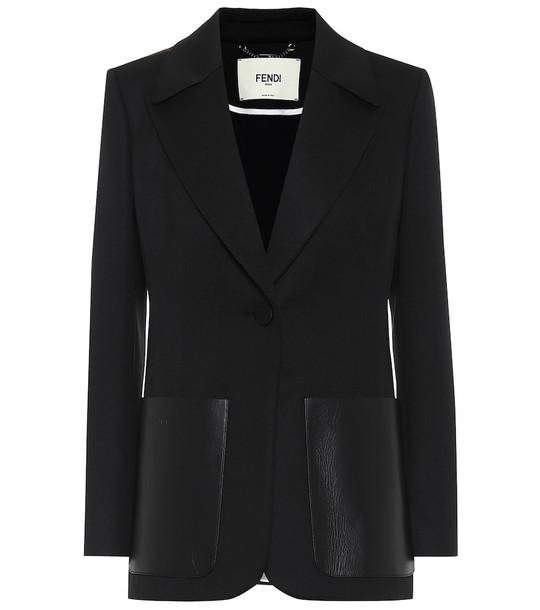 Fendi Leather-trimmed twill blazer in black