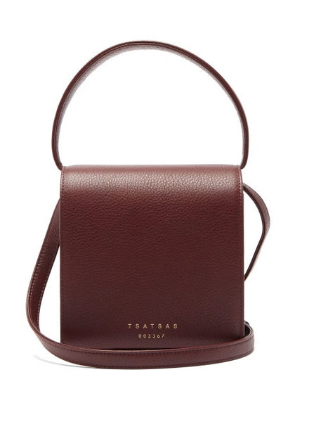 Tsatsas - Malva 2 Grained-leather Cross-body Bag - Womens - Burgundy