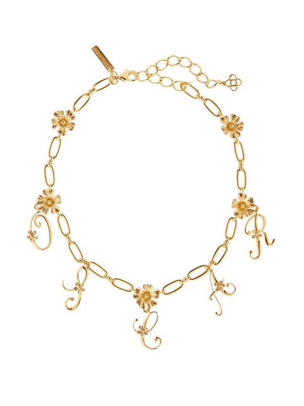 Oscar de la Renta logo floral necklace in gold