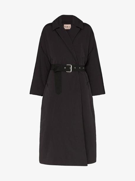 Plan C padded belted coat in black