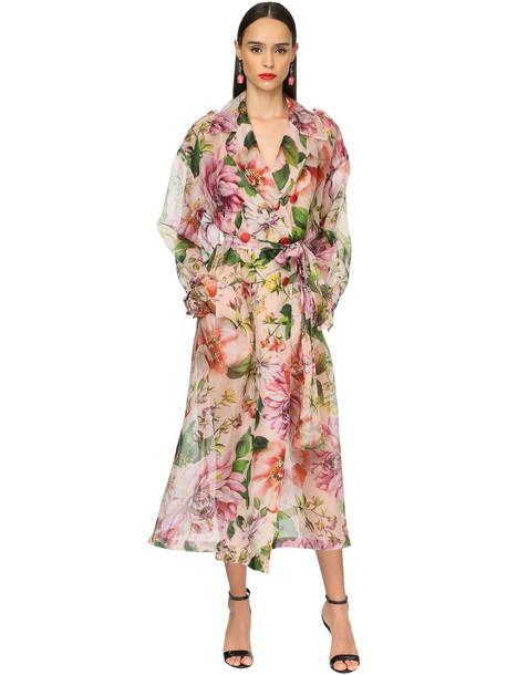 DOLCE & GABBANA Flower Print Silk Organza Trench Coat in pink / multi